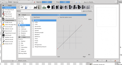 Screenshot of the Krita brush editor